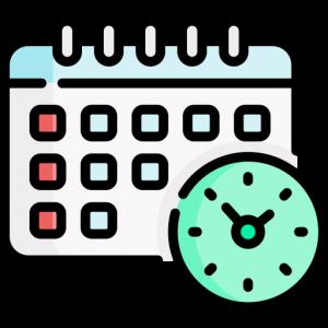 Icono de agenda y reloj